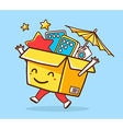 colorful of yellow joy character shopping bo vector image