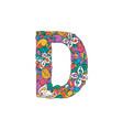 colorful ornamental alphabet letter d font vector image
