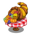 cornucopia with fruits and vegetables on table vector image