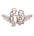 couple of parents with children avatar character vector image vector image