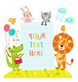 cute animals and form form text vector image vector image