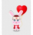 cute cartoon rabbit in red hat with ear flaps vector image vector image