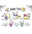 Cute easter bunny characters set with smiling