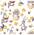 cute easter rabbit in egg shell seamless pattern vector image vector image