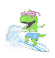 dinosaur surfer ride wave on surfboard vector image vector image