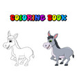 donkey cartoon character coloring book design vector image vector image