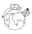 eco car and save planet design vector image vector image