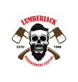 emblem template with lumberjack skull and axes vector image vector image