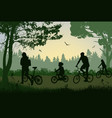 family on cycle ride on a summer trip vector image vector image