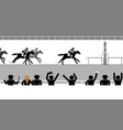 flat horse racing in front crowd spectators vector image