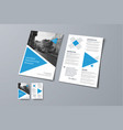 flyer template with triangular blue elements vector image vector image
