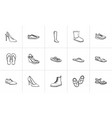 footwear hand drawn outline doodle icon set vector image