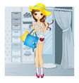 Girl In Hat Near Fitting Room vector image