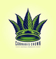 green leaf cannabis crown logo company vector image vector image