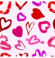 Grunge valentines seamless pattern with hearts