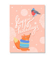 happy holidays greeting card with squirrel sweater vector image