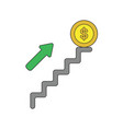 icon concept dollar coin on top stairs vector image vector image
