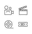 line cinema icons set on white background vector image