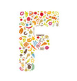 logo letters from vegetables and fruits vector image vector image