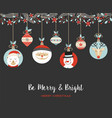 merry christmas cute retro bauble greeting card vector image vector image