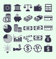 money and banking related flat icons set vector image