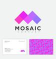 mosaic company logo m monogram crystal pattern vector image