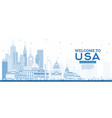 outline welcome to usa skyline with blue vector image vector image