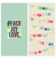 Peace love joy - Multicolored Christmas design vector image vector image