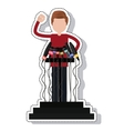 Podium with microphones isolated icon vector image