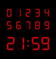 red digital numbers set vector image