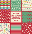 Retro Set Of Christmas And New Year Seamless vector image vector image
