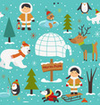 seamless pattern with eskimos and arctic animals vector image vector image