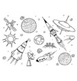 set cartoon alien spaceships ufo rockets vector image