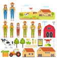 set happy farmers and smart farming elements vector image