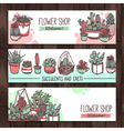Succulents And Cacti Color Sketch Banners Design vector image vector image