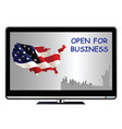 tv advert proclaiming usa open for business vector image vector image