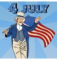 USA Independence Day Man with American Flag vector image vector image