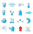 water icons set cartoon style vector image