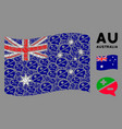 waving australia flag collage arguments icons vector image vector image