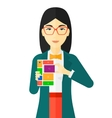 Woman with modular phone vector image vector image