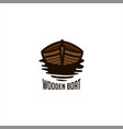 wooden boat logo vector image vector image