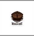wooden boat logo vector image
