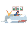 young woman lying on bed with mobile phone vector image