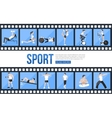 Film strips and training people icons set for vector image