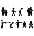 set of terrorist and hostages people vector image