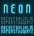 neon blue light alphabet font glowing text vector image