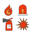 a set of flat icons on the theme of fire vector image vector image