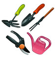 a set traditional garden tools isolated on a vector image vector image
