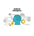 artificial intelligence human head brain world vector image