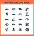 automobile icons set with handbrake warning fuel vector image